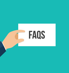 Man showing paper faqs text vector