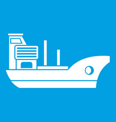 Marine ship icon white vector