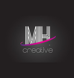 Mh m h letter logo with lines design and purple vector