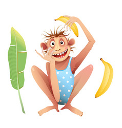 Monkey or chimp playing funny cartoon isolated vector