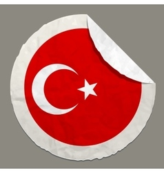 National flag of Turkey on a label vector image