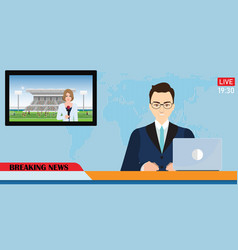 news anchor broadcasting the news with a reporter vector image
