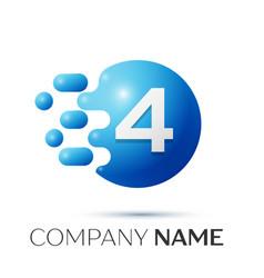number four splash logo blue dots and bubbles vector image