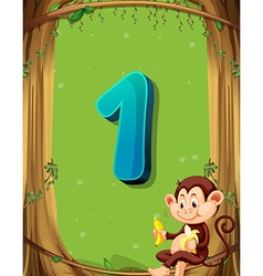 Number one with only one monkey in tree vector