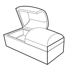 opened coffin icon outline style vector image