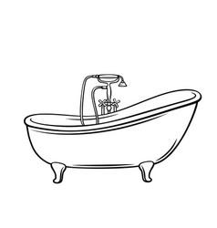 Outline bathtub icon vector