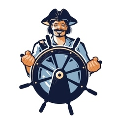 pirate logo corsair or captain sailor vector image
