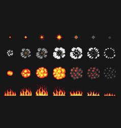 Pixel art 8 bit fire objects nuclear explosion vector