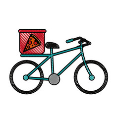 Pizza bycicle flat scribble vector