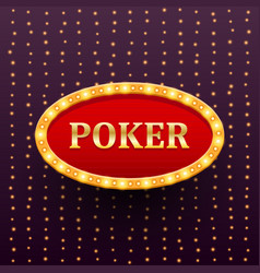 Poker luxury retro banner template with glowing vector