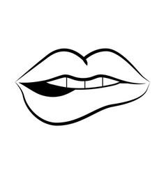 pop art comic lips cartoon vector image