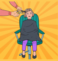 Pop art young girl getting a haircut barber shop vector