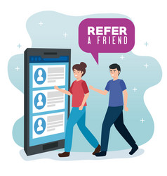 Poster refer a friend with couple and vector