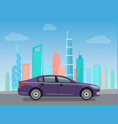 Purple modern car riding on road near skyscrapers vector