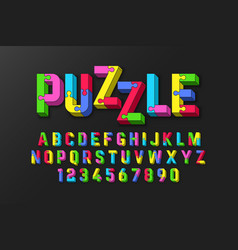 Puzzle 3d font jigsaw alphabet and numbers vector