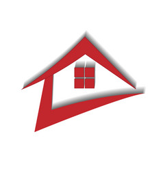Red house real estate dynamic logo vector
