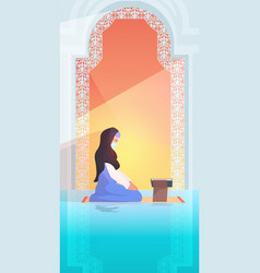 Religious muslim woman praying reading quran vector