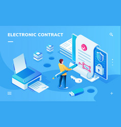 screen for electronic contract or signature app vector image