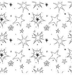 seamless hand drawn stars pattern doodle star vector image