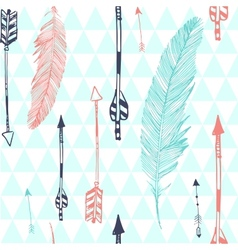 Seamless pattern with feather and arrows vector image