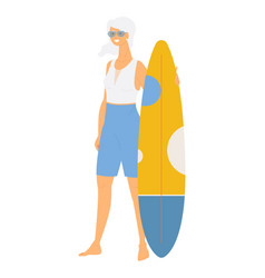 Senior lady with funboard surfboard isolated on vector