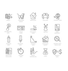 set black and white credit and financial icons vector image