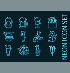set brewing blue glowing neon icons vector image
