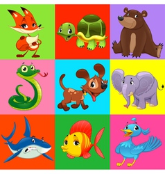 Set of animals with background vector