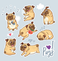 set of cute pug pupies for stickers pins vector image