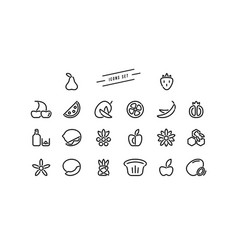 Set of fruit and dessert icons in thin line style vector