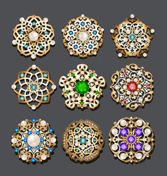 Set of jewelry gold brooch with precious stones vector
