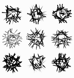 Set of random chaotic line abstract element set vector