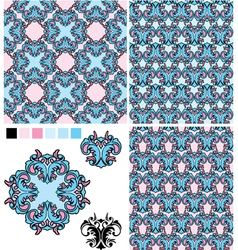 set of seamless patterns - floral ornaments and el vector image