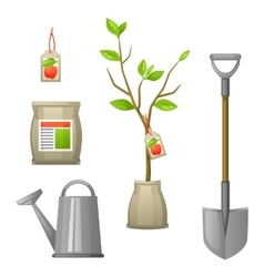 Set of seedling fruit treeshovel fertilizers and vector