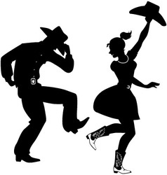Silhouette country-western dancers vector
