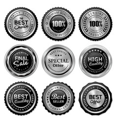 silver badges and labels premium quality product vector image