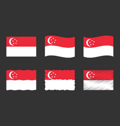 singapore flag set official vector image