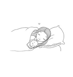 sleeping girl and cat in bed good night vector image