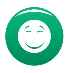 Smile icon green vector