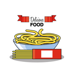 Spaghetti in bowl isolated icon vector