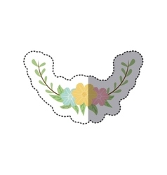 Sticker colorful decorative half crown branch vector