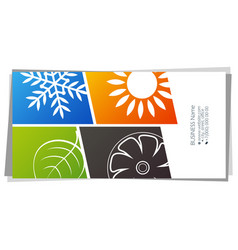 Sun and snowflake green leaf fan eco air vector