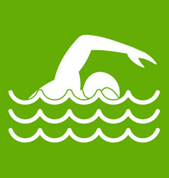 swimmer icon green vector image