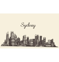 Sydney skyline engraved hand drawn sketch vector image