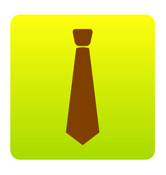 Tie sign brown icon at green vector
