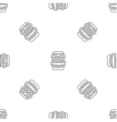 Tiki idol smile pattern seamless vector