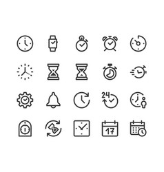time clock line icon minimal vector image