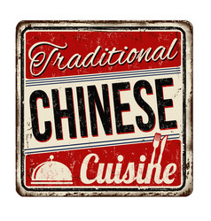 traditional chinese cuisine vintage rusty metal vector image