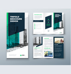 Tri fold green brochure design with square shapes vector