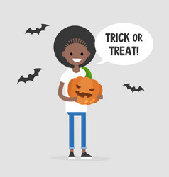Trick or treat halloween young black girl vector